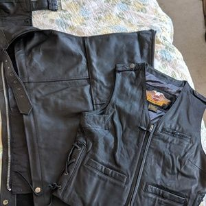 Leather chaps/Harley Davidson vest both pieces